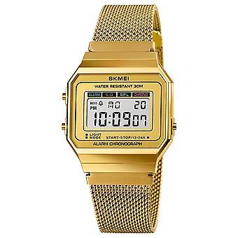 SKMEI 1660 الأزياء ساعة توقيت مضيئة عرض الرجال للماء ووتش حزام شبكة D