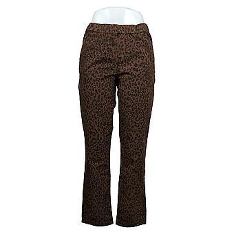 Denim & Co. Pantaloni Petite Donna Animal Print Comfy Knit Brown A383234