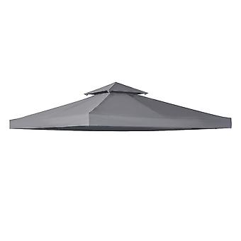 Outsunny 3 x 3(m) Gazebo Canopy Roof Top Replacement Cover Spare Part Deep Grey (TOP ONLY)