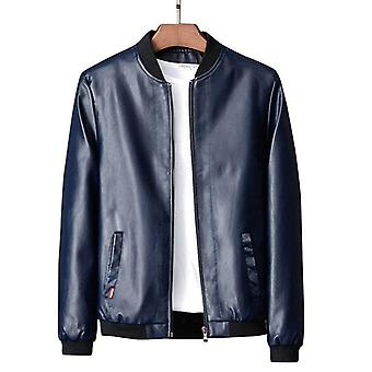 Spring Autumn Leather Garment Men's Fashionable Slim Coat With Vertical Collar