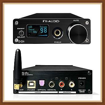 Fx אודיו d01 dac amp bluetooth 5.0 csr8675 es9038q2m dac 32bit 768khz dsd512 xu208 קו החוצה 6.35mm מפענח