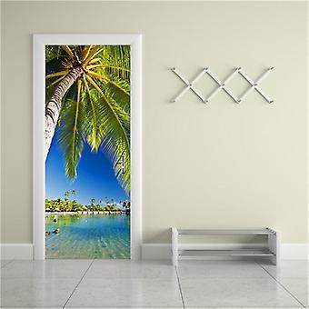 Palm Tree Door Mural Self-adhesive Waterproof Vinyl Poster