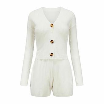 V Neck Single Button Long Sleeve Women Autumn Two Pieces Set