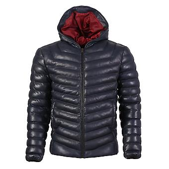 Quora mens bubble puffer leather jacket with hoody dark navy blue
