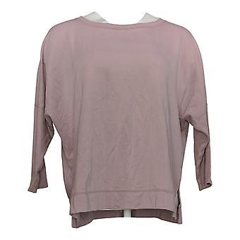 zuda Women's Sweater Z-Knit Pullover w/ Slim Rib Sleeves Pink A374741