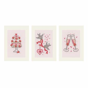 Vervaco Contato Cross Stitch Kit: Carte: Matrimonio: Set di 3