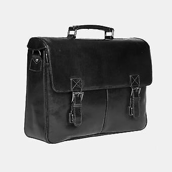 Primehide Mens Classic Leather Briefcase Satchel Top Carry Handle Gents 6251