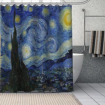 Aangepaste van gogh sterrenhemel nacht douchegordijn waterdichte badkamer gordijn stof douche (150 * 180)