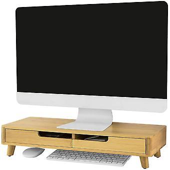 SoBuy Bamboo Monitor Stand Desk Organizer, BBF06-N