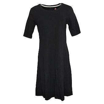 Isaac Mizrahi Live! Kleid Essentials Pima Baumwolle Ellenbogen - Slv schwarz A351507