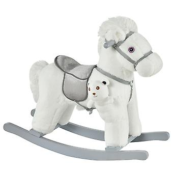 HOMCOM Kids Plush Ride-On Rocking Horse Toy Rocker with Plush Toy Realistic Sounds for Child 18-36 Months White