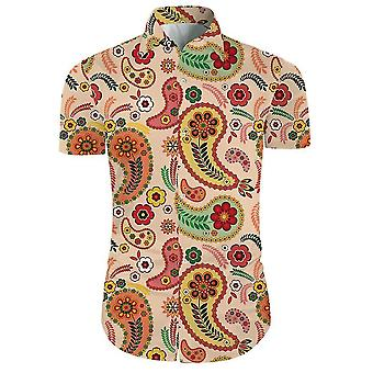 Ανδρικά 2 κομμάτια 3d floral εκτύπωση casual κουμπί κάτω από κοντό μανίκι Χαβανέζικο πουκάμισο και σορτς που σε
