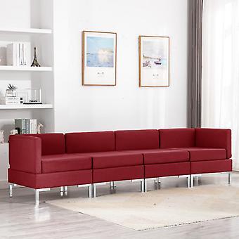 vidaXL 4 pcs. Sofa set fabric wine red