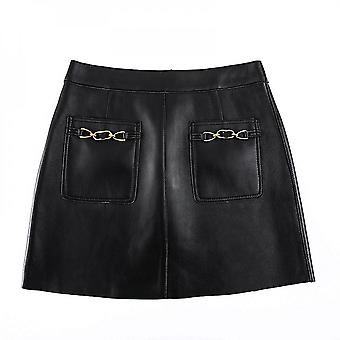 Mimigo Women's Real And Natural Leather Skirts Zipper Closure A-line High Waisted Stretchy Mini Short Skirt