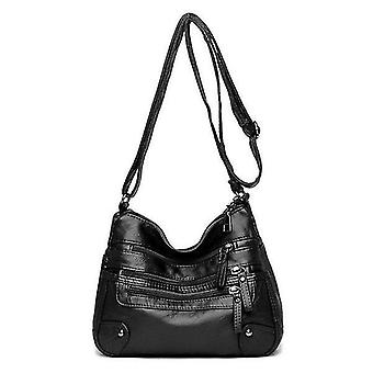 The New Ladies Bags Soft Waterproof Multi-Zipper Leather Satchel Outdoor Travel Shoulder Bag(black)
