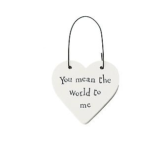 You Mean The World to Me - Mini Wooden Hanging Heart - Cracker Filler Gift