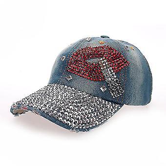 Smoking Brim Denim Baseball Cap Rhinestone Snapback Hat Gorra
