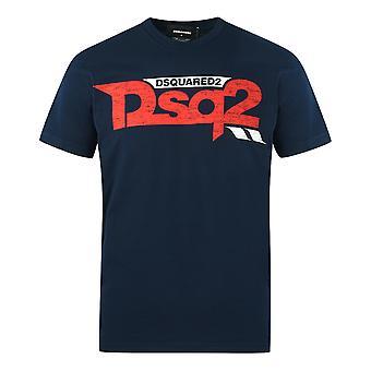 Dsquared2 Kul Passform DSQ2 Logo Blå T-skjorte