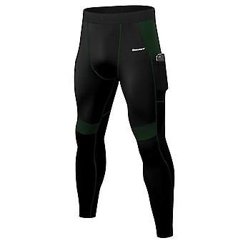Patchwork Compression Running Tights Hommes Téléphone Pocket Elastic Sports Leggings