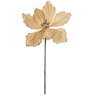 40cm Champagne Gold Velvet och Glitter Magnolia Stem för blomsterhantverk