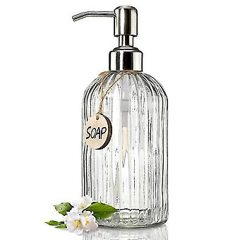 Soap lotion dispensers glass soap dispenser 450ml with rust proof stainless steel pump refillable liquid soap dispenser