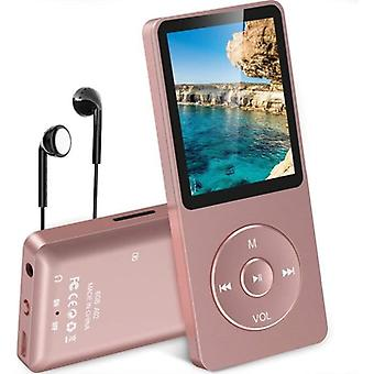 Mp3 Player With Long Battery Life, Mp3 8gb Lossless Hifi Music Music Player Multifunctions Radio, Support Micro Sd Card Pink