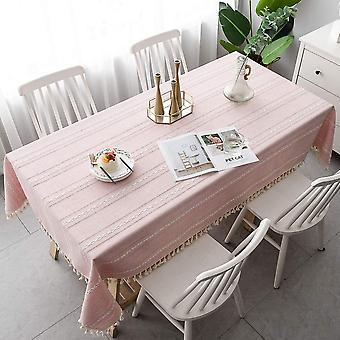 Rechteckige Tischdecke mit Fransen, kleine frische Tischdecke, Baumwoll- und Leinentischdecke, weiche Tischdecke für Außen- oder Innenküchentischdecke, Pi