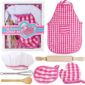 7pcs Cute Kids Cooking Baking Chef Costume Kit Career Role Play Pretend Toys