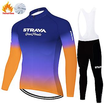 Strava Men's Long Sleeve Cycling Trousers Autumn Winter Thermal Fleece Cycling Clothing Set /blue