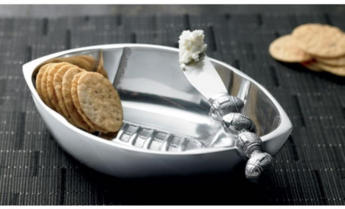 Football Shaped Dip Holder Serving Bowl Polished Aluminum 7.5 Inches