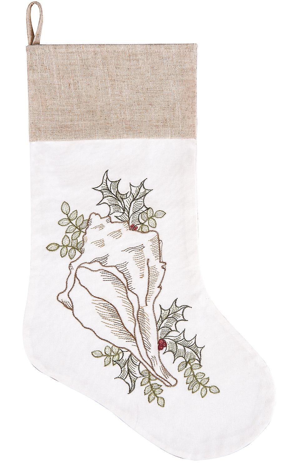 Coastal Conch Seashell with Holly Sprigs Christmas Holiday Stocking