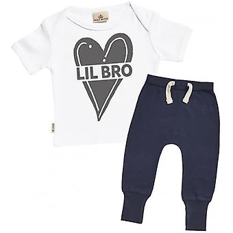 Verwend rotte Lil Bro Baby T-Shirt & Marine Joggers Outfit Set