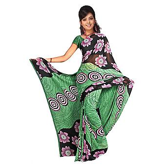 Bishakha Georgette gedruckt Casual Sari Sari Bauchtanz Stoff