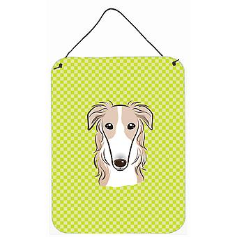 Checkerboard Lime Green Borzoi Wall or Door Hanging Prints
