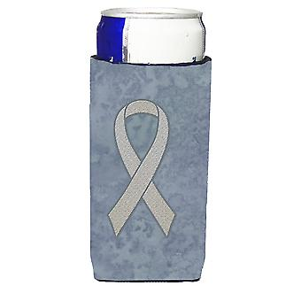 Clear Ribbon for Lung Cancer Awareness Ultra Beverage Insulators for slim cans