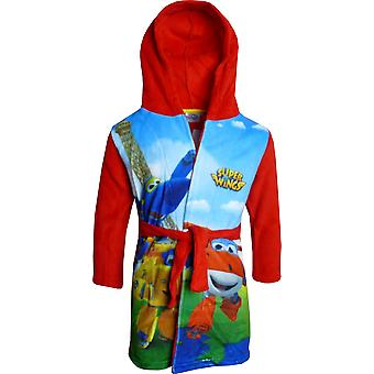 Boys DHQ2182 Super Wings Fleece Hooded Dressing Gown