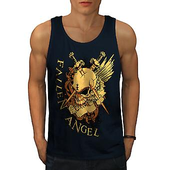 Fallen Angel War Skull Men NavyTank Top | Wellcoda