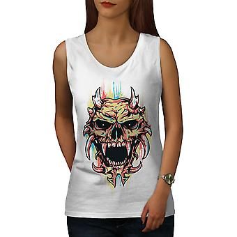 Сатана дьявол страшный череп женщины WhiteTank Top | Wellcoda