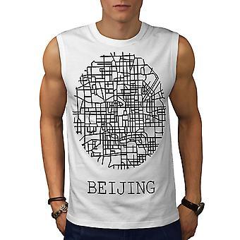 Stadtplan Beijing City Mode Männer WhiteSleeveless T-shirt | Wellcoda