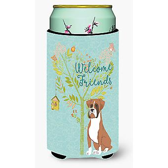 Welcome Friends Flashy Fawn Boxer Tall Boy Beverage Insulator Hugger
