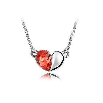 Palo oranssi Design rakkaus sydän Crystal hopea korut kaulakoru