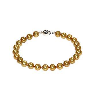 Hustru till Golden sötvatten odlade pärlor och lås i Silver 925 armband