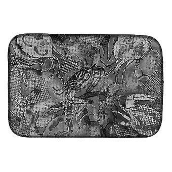 Carolines Schätze 8953DDM graue Leinwand abstrakt Krabben Gericht trocknende Matte