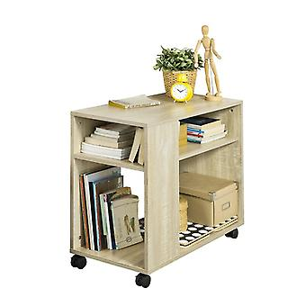 SoBuy Night Stand with Storage Shelves with 2 Tiers Bookcase on Wheels,FBT34-N