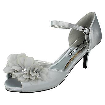 Ladies Anne Michelle Flower Trim Heeled Sandals