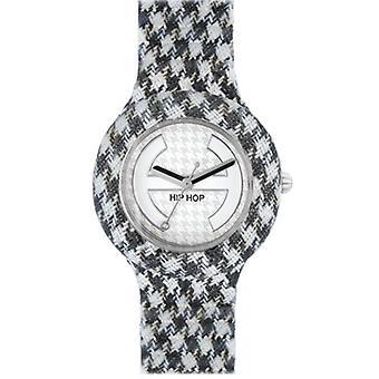 Hip hop horloge siliconen horloge pied de Poule kleine HWU0372 noir et blanc