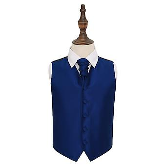 Royal Blue Check tinta sposa gilet & Cravat Set per i ragazzi