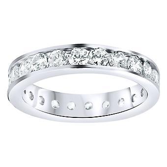 Sterling 925 Silver Eternity Ring-4mm csatorna szett