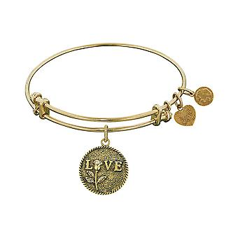 Stipple Finish Brass Love With Rose  Angelica Bangle Bracelet, 7.25""