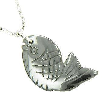 Viel Glück 925 Silber glänzende Hämatit Fortune Fisch Anhänger Halskette